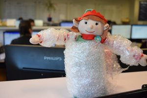 elf in bubblewrap
