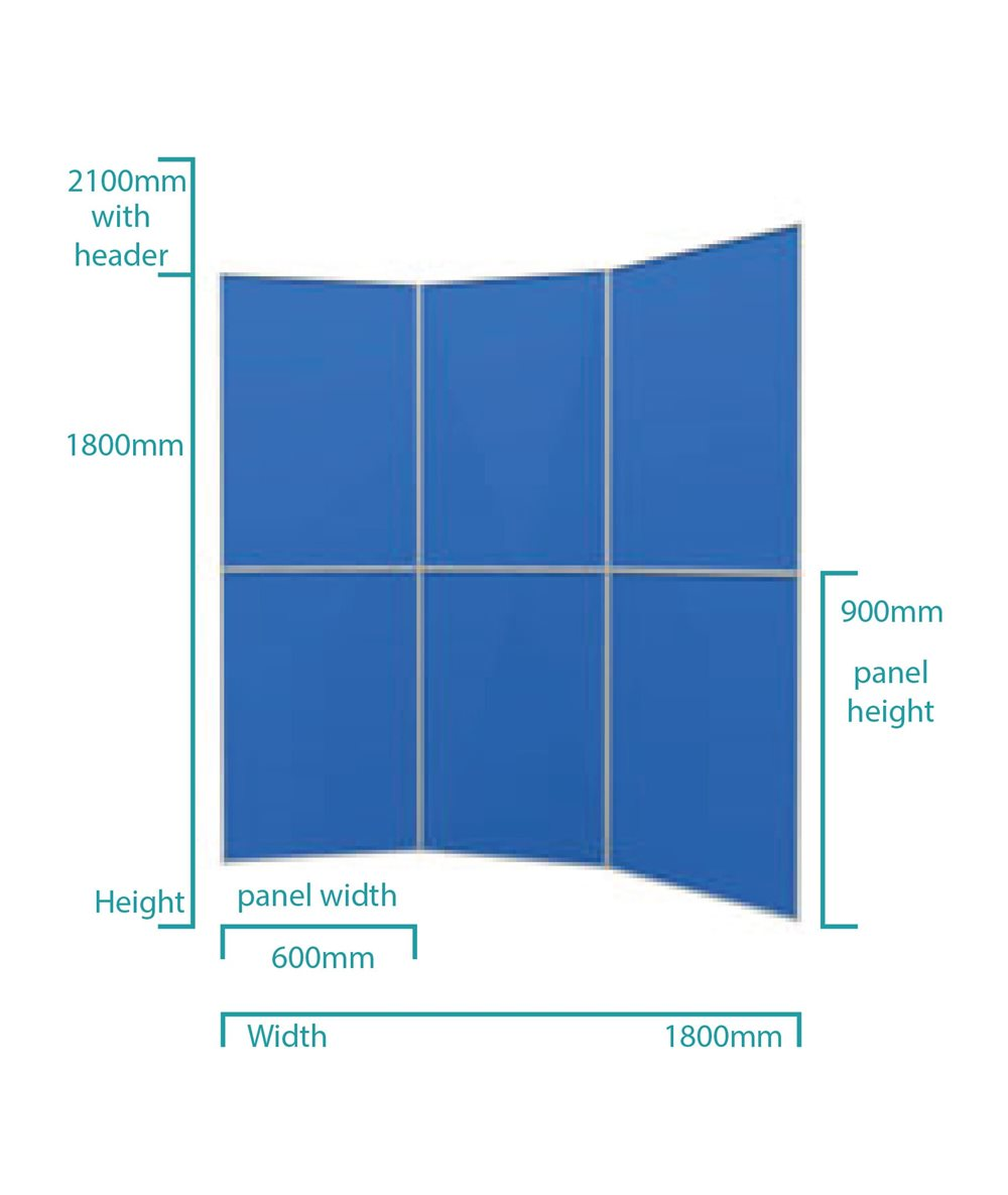 6 Panel Aluminium Folding Display Board Kit Dimensions