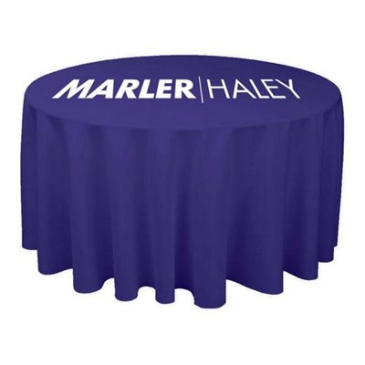 Round Printed Tablecloth Blue With Logo