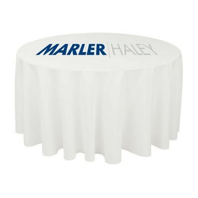 Round Printed Tablecloth White With Logo