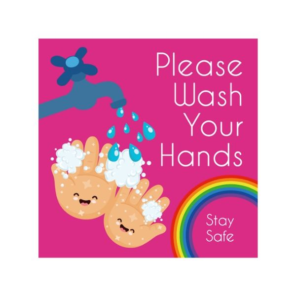 Children's Themed Hand Hygiene Floor Stickers - Square