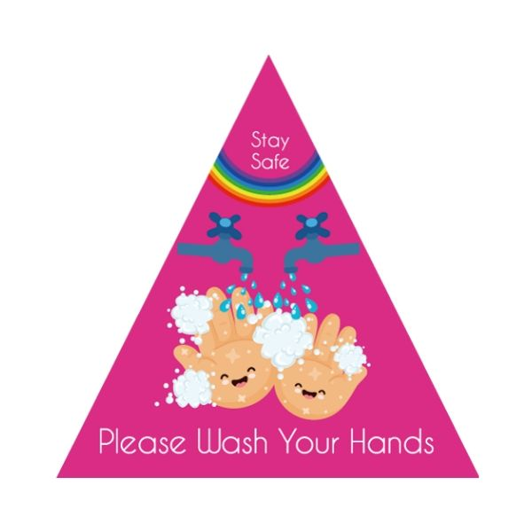 Children's Themed Hand Hygiene Floor Stickers - Triangle