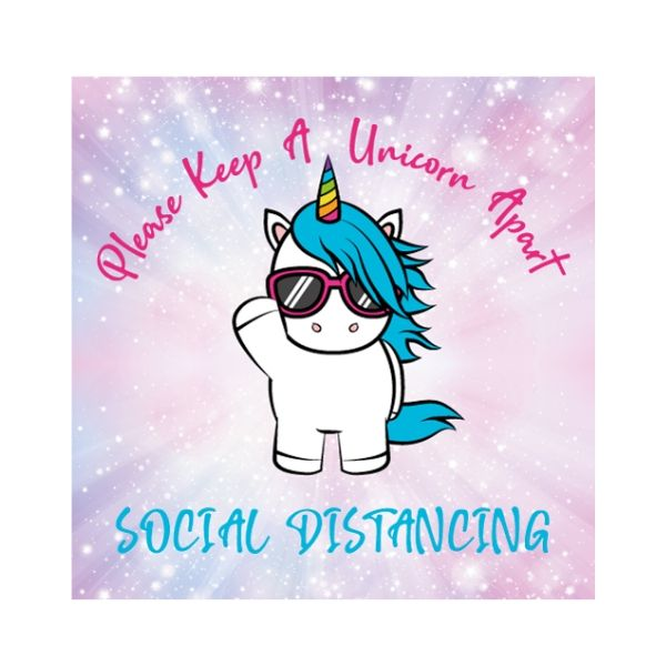 Unicorn Social Distancing Floor Stickers - Square