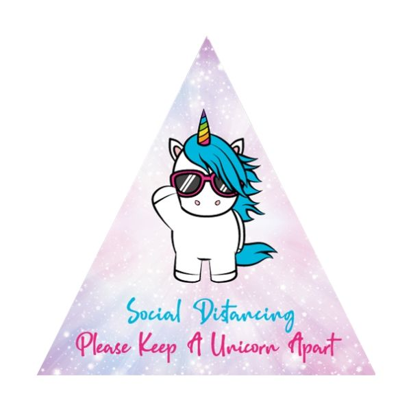 Unicorn Social Distancing Floor Stickers - Triangle
