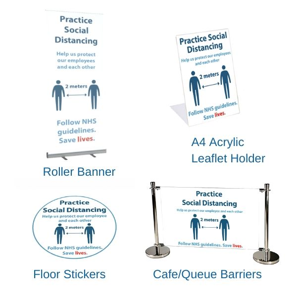 COVID-19 Floor Stickers, Barriers, Banners and Leaflet Holders