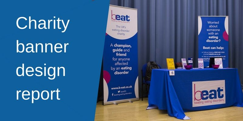 Charity Banner Design Report - Image of Beat charity banners wtih a tablecloth
