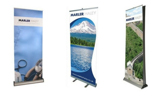 Roller banners for small stand spaces