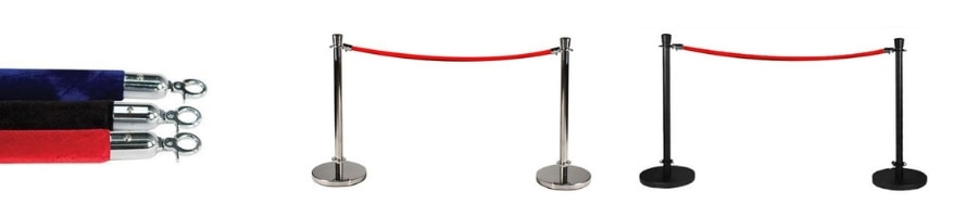 Rope and pole queue barriers