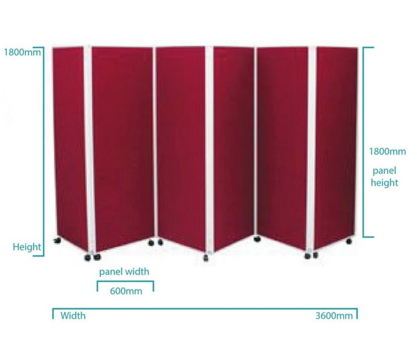 6 Panel Wheeled Room Divider Dimensions
