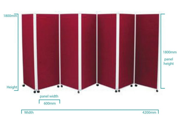 7 Panel wheeled folding room divider dimensions