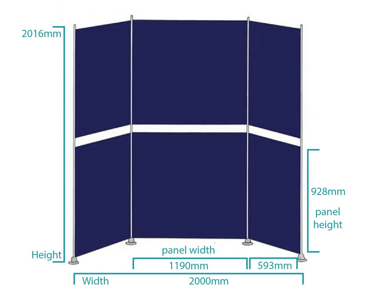 Multiscreen Display Board Kits Display Board 6 panels kit 3 Dimensions