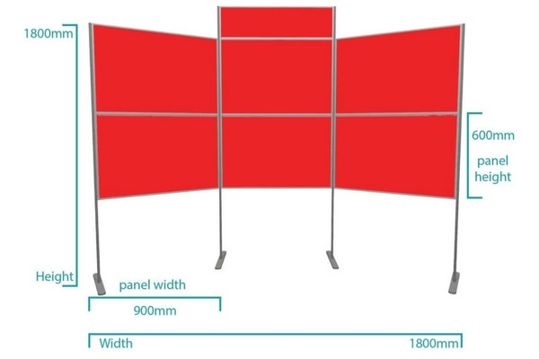 6 panel lightweight pole and panel display board kit landscape dimensions