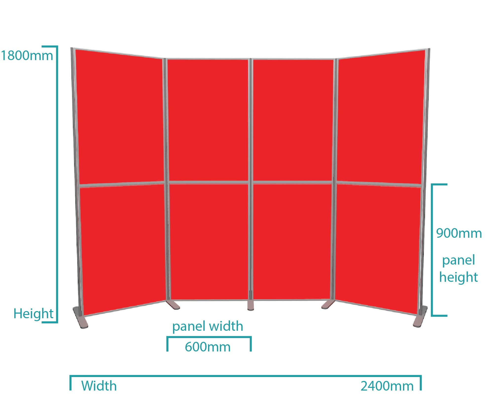 8 panel portrait lightweight pole and panel display board kit dimensions